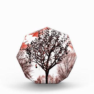 metal Baum auf der Foto-Rottönung des Feldes Auszeichnung