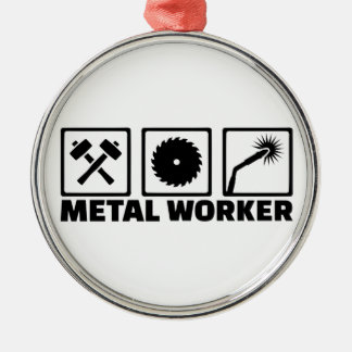 Metallarbeitskraft Rundes Silberfarbenes Ornament
