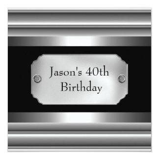 Metallchrom-Schwarz-weißer Art-Silber-Männer 40. Quadratische 13,3 Cm Einladungskarte