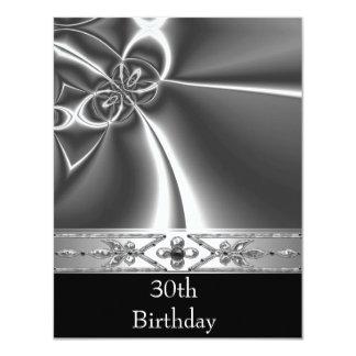 Metallchrom-Schwarz-weißes Art-Silber 30. Karte