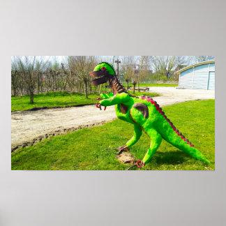 Metalldinosaurier trex im Park-Foto Poster