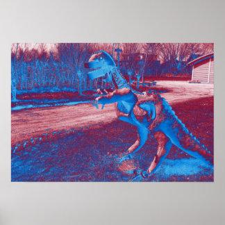 Metalldinosaurier trex im Park Poster