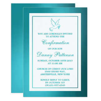 Metallische aquamarine Tauben-heilige Kommunion 12,7 X 17,8 Cm Einladungskarte