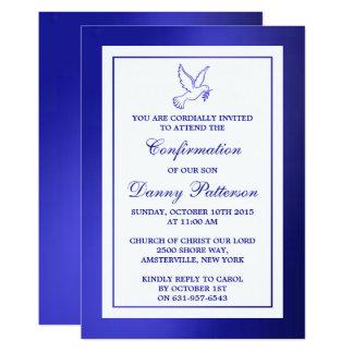 Metallische Blau-Tauben-heilige Kommunion oder 12,7 X 17,8 Cm Einladungskarte
