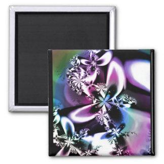 Metallische Regenbogen-Blüte Quadratischer Magnet