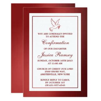 Metallische Rot-Tauben-heilige Kommunion oder 12,7 X 17,8 Cm Einladungskarte