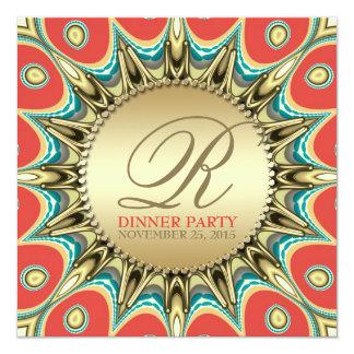 Metallische Sonnenblume-goldene Abendessen-Party Quadratische 13,3 Cm Einladungskarte