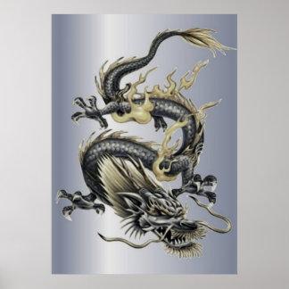 Metallischer Drache Poster