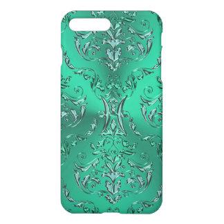 Metallischer grüner Damast iPhone 7 Plus Hülle
