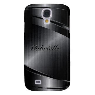 Metallischer schwarzer Entwurf bürstete Galaxy S4 Hülle