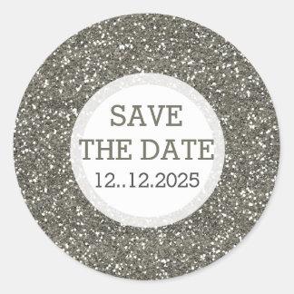 Metallischer silberner Glitzer Save the Date Runder Aufkleber
