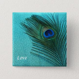 Metallisches Aqua-blaue Pfau-Feder Quadratischer Button 5,1 Cm