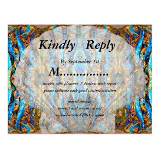 Metallisches blaues Seashell-Hochzeit UAWG durch Postkarte