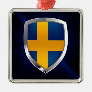 Metallisches Emblem Schwedens Quadratisches Silberfarbenes Ornament