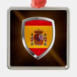 Metallisches Emblem Spaniens Silbernes Ornament