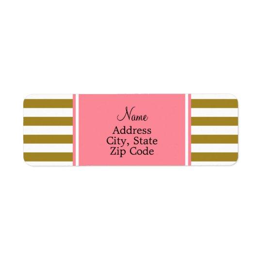 Metallisches Gold und rosa gestreiftes Muster Kleiner Adressaufkleber