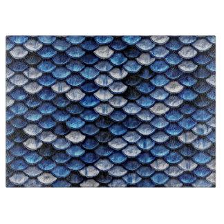 Metallisches Kobalt-Blau-Fisch-Skala-Muster Schneidebrett