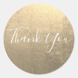 Metallisches Platin-Gold danken Ihnen Runder Aufkleber