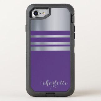 Metallisches Silber, grau und lila OtterBox Defender iPhone 8/7 Hülle