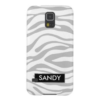 Metallisches Silber und weißes Zebra-Monogramm Samsung S5 Hüllen