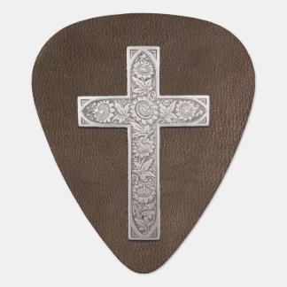 Metallkreuz auf dunklem Leder Gitarren-Pick