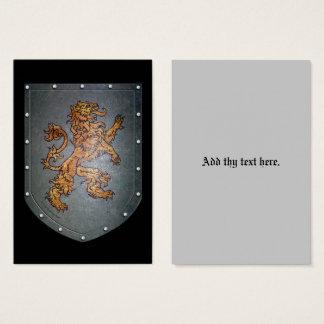Metallschild-Löwe auf Schwarzem Visitenkarte