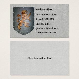 Metallschild-mittelalterlicher Löwe verlassen Visitenkarte