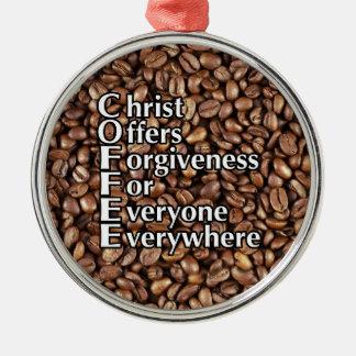 Metallweihnachtsverzierung KAFFEE Christus bietet Silbernes Ornament