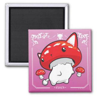 Mewshroom niedlicher Katzenpilz rosa Magneten Quadratischer Magnet