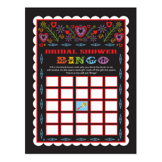 Mexikanische Fiesta-Brautparty-Bingospielkarte Postkarte