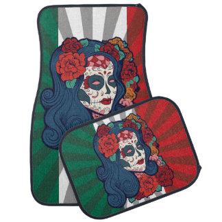 Mexikanische Flaggen-Zuckerschädel-Frauen-Rote Automatte