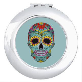 Mexikanische Volkskunst-Zuckerschädel Taschenspiegel