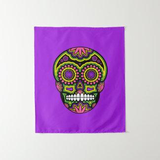 Mexikanischer Zuckerschädel-Tag von dem toten Lila Wandteppich