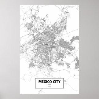 Mexiko City, Mexiko (Schwarzes auf Weiß) Poster
