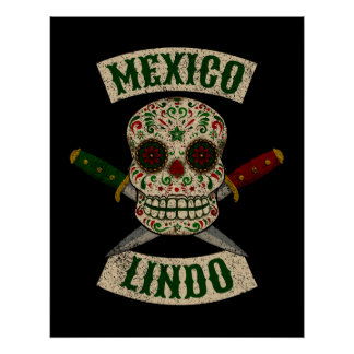 Mexiko Lindo. Mexikanischer Schädel mit den Poster