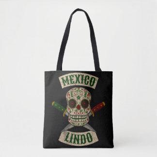 Mexiko Lindo. Mexikanischer Schädel mit den Tasche