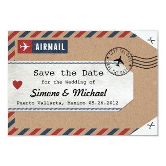 Mexiko-Luftpost-Gepäck-Umbau Save the Date mit 8,9 X 12,7 Cm Einladungskarte