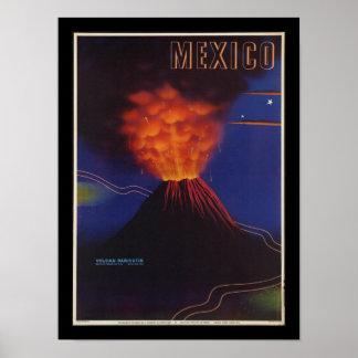 Mexiko-Vulkan Kunst-Deko-Vintages Plakat