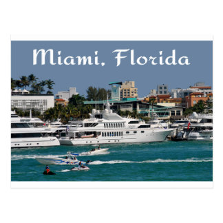 Miami Beach-Jachthafen-Florida-Reise-Postkarte Postkarte