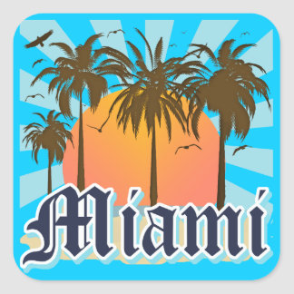Miami Beach la Floride FLA Sticker Carré