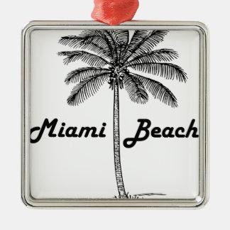 Miami Beach Quadratisches Silberfarbenes Ornament