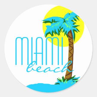 Miami Strand-Palme Baum Runder Aufkleber