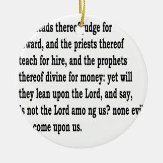 Micah 3:11 keramik ornament
