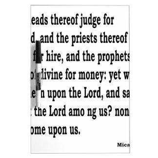 Micah 3:11 trockenlöschtafel