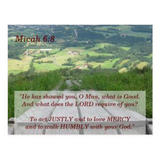 Micah 6 8 Schrifts-codierte Karte