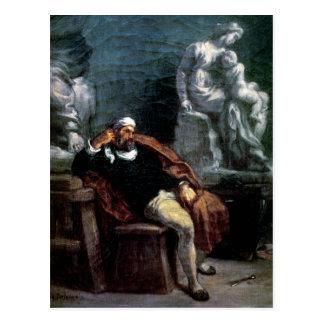 Michelangelo in seinem Studio Postkarte