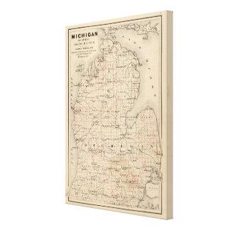 Michigan, das Konturnlinien zeigt Gespannte Galeriedrucke