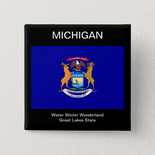 Michigan-Flagge Quadratischer Button 5,1 Cm
