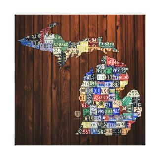 Michigan-Landkreis-Lizenz-Platten-Karte eingewicke Leinwanddruck