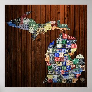 Michigan-Landkreis-Lizenz-Platten-Karten-Leinwand- Poster